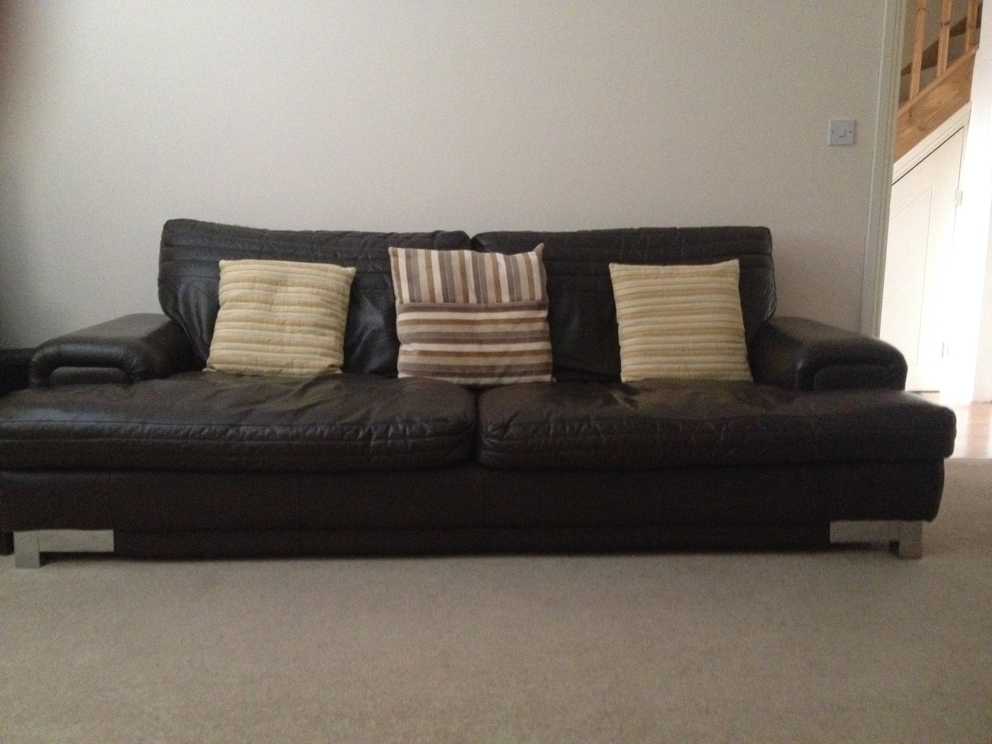 Brown leather sofas 2 and 3 seater