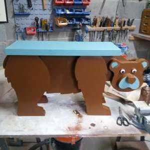 For sale: Childs wooden bear table/stool