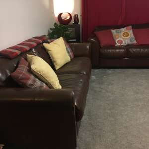 For sale: 2 seater and 3 seater brown leather Sofa for sale - £150