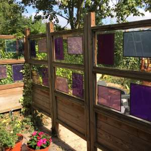 For sale: Four fencing panels stained glass 2 metres high 96  wide each 4 panels - £10