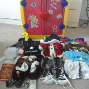 For sale: Build a bear bundle, red  and yellow wardrobe and clothes and accessories (approx 25 items) - £25