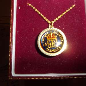 For sale: 1948 Enamel Painted and Gold Plated Sixpence Pendant